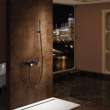 Ambiente duche Imex Olimpo preto mate/ouro rosa